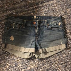 7 for all mankind jean shorts, size 28, distressed
